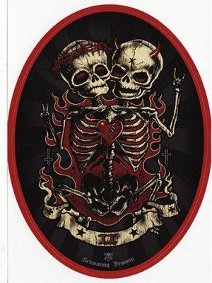 Screaming Demons Skull Twins Sticker