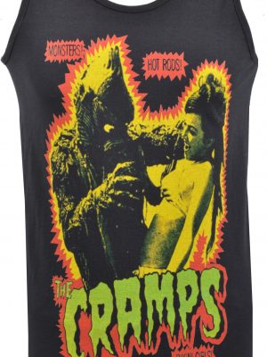 The Cramps Black Leather Mens Vest
