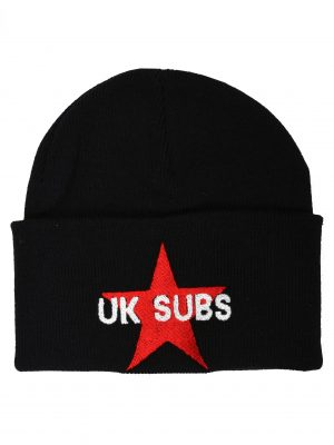 UK Subs Star Black Embroidered Beanie