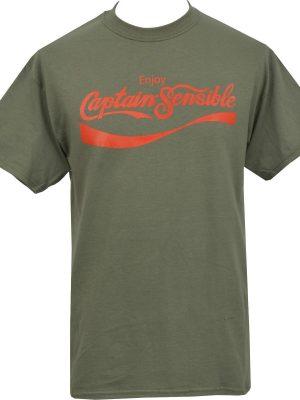 Enjoy Captain Sensible Olive T-Shirt