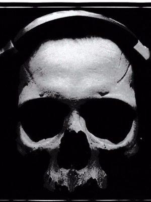 Skull with headphones Vinyl Sticker