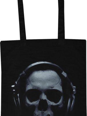 Skull Wearing Headphones Black Tote Bag