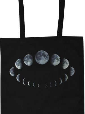 Phases Of The Moon Black Tote Bag