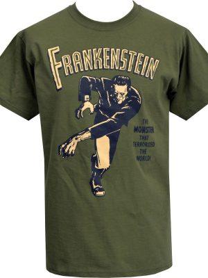 Frankenstein Monster That Terrorized The World Mens Olive T-Shirt