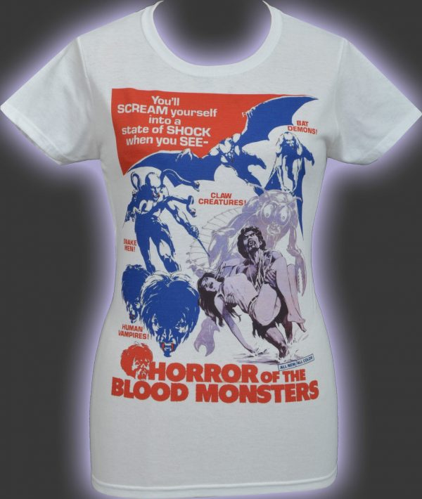 Horror Of The Blood Monsters Ladies White T-Shirt