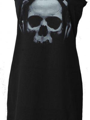 Skull With Headphones Black Dress