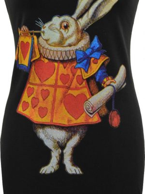 Alice's Adventures In Wonderland White Rabbit Black Dress
