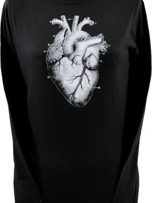Anatomical Human Heart Black Long Sleeve Top