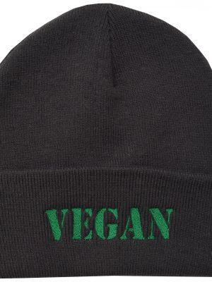 Green Vegan Dark Grey Embroidered Beanie