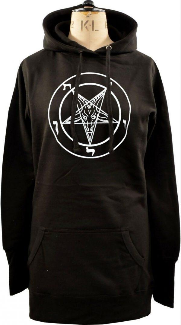 Baphomet Pentagram Ladies Long Hoodie