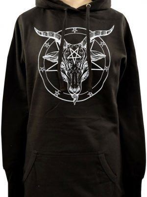 Baphomet Pentagram Ladies Long Hoodie