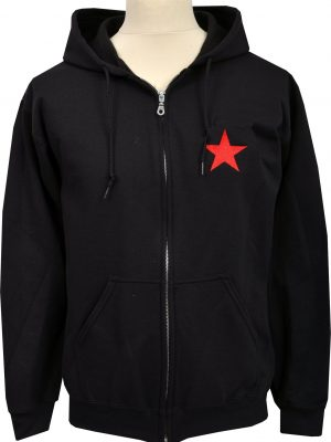Red Star Embroidered Zipper Hoodie